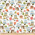 Timeless Treasures Flannel Owls White