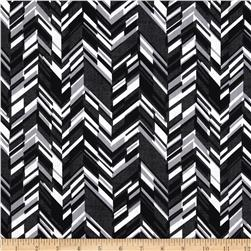 And Sew On Chevron Black/Grey Fabric