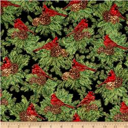 Timeless Treasures Christmas Morning Metallic Cardinals On Pine Black