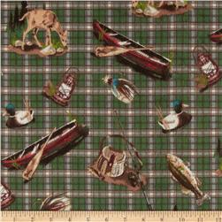 Big Country Flannel Motifs on Plaid Green