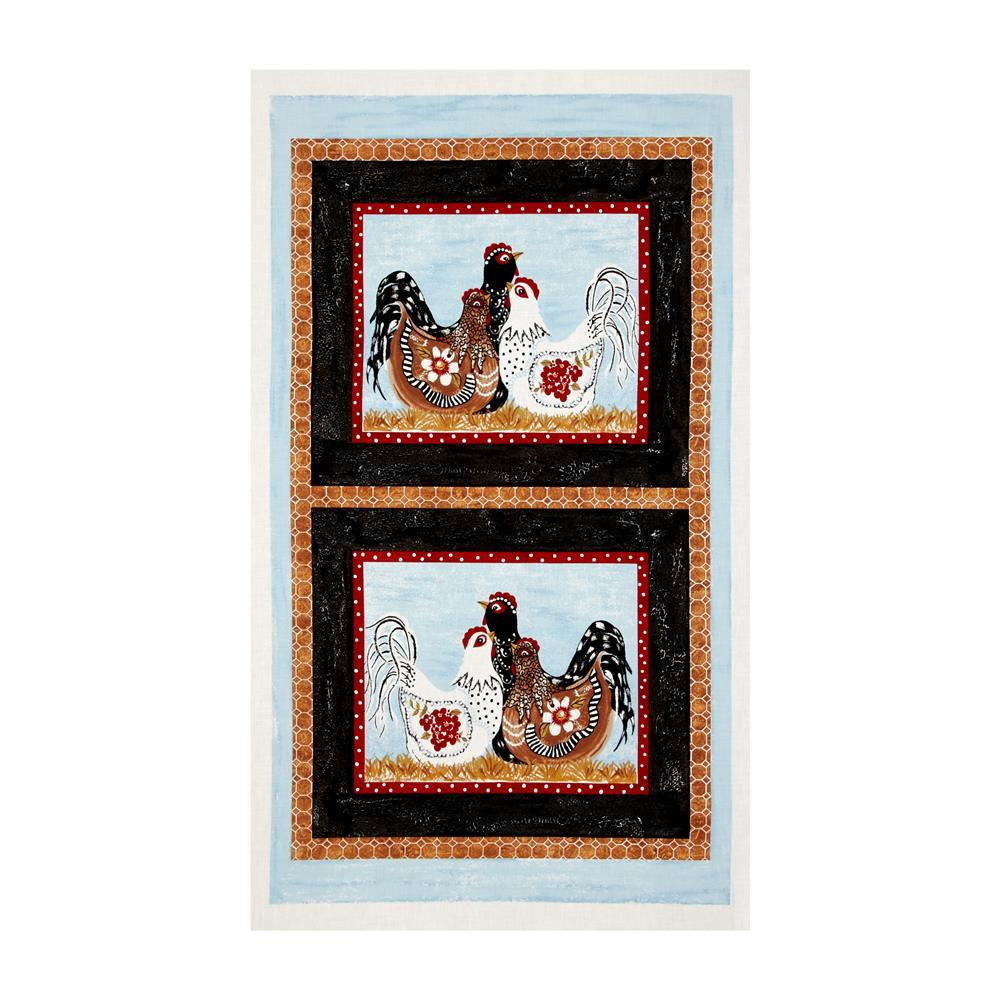 "Three French Hens 23"" Panel Multi"
