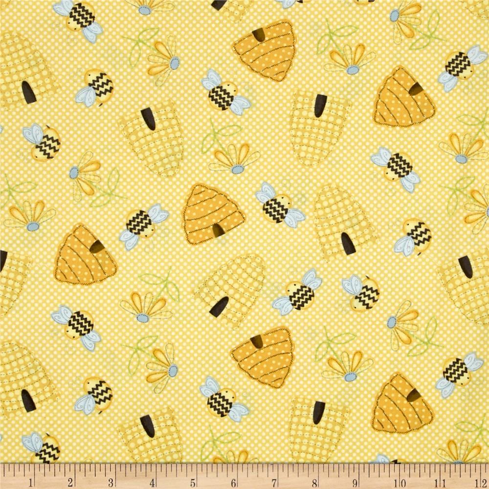 Sew bee it tossed beehives yellow discount designer for Cheap sewing fabric