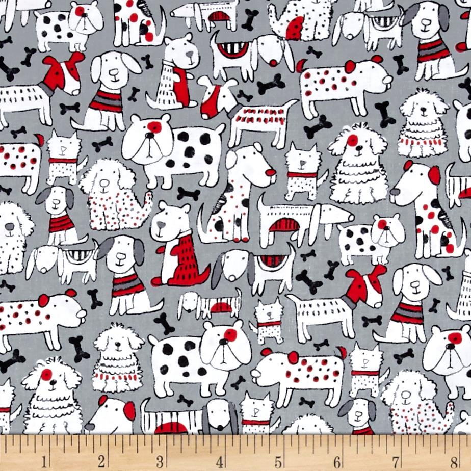 Timeless treasures mixed dog breeds grey discount for Grey childrens fabric