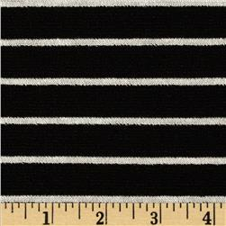 Varsity Ponte de Roma Stripe Knit Black/White Fabric