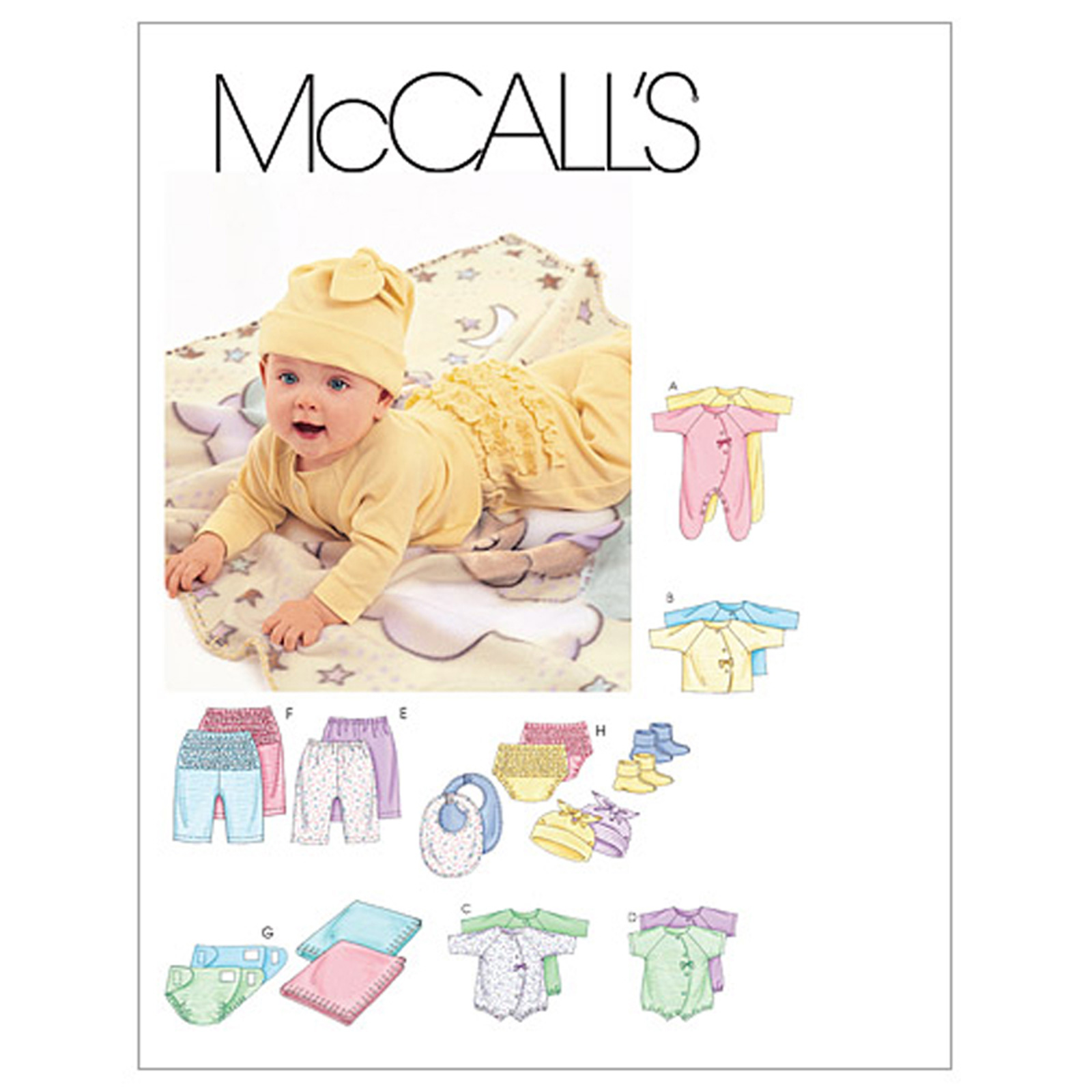 McCall's Infants' Coveralls Bodysuit Diaper Cover Blanket Bib and Hat Pattern M6223 Size OSZ by Kwik Sew in USA