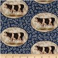 Farm Chic Cows in Ovals Black/Blue
