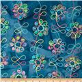 Embroidered Indian Batiks Floral Teal
