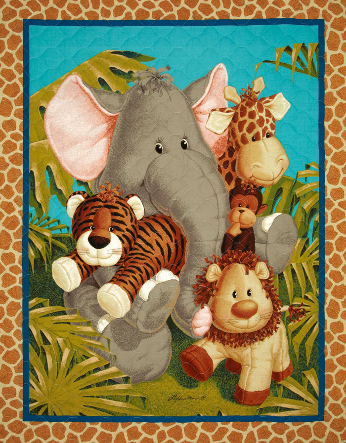 Jungle Babies Double-Sided Quilted Panel Multi