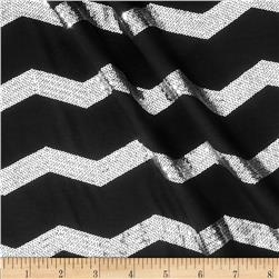 Soft Jersey Knit Sequin Chevron Black/Silver