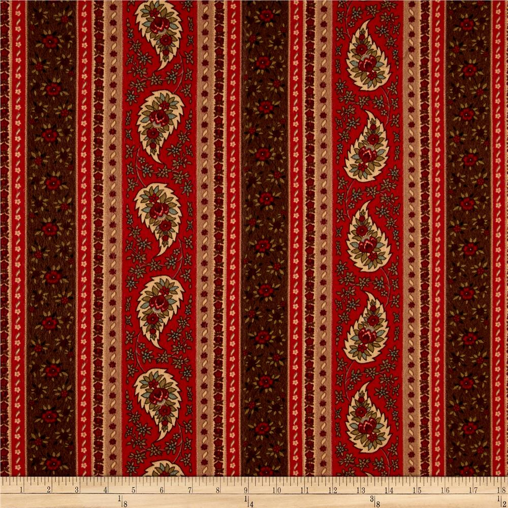 Provence Flannel Paisley Stripe Red Multi Fabric By The Yard
