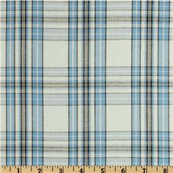 Stretch Yarn Dyed Shirting Plaid Blue/Black/Light Grey