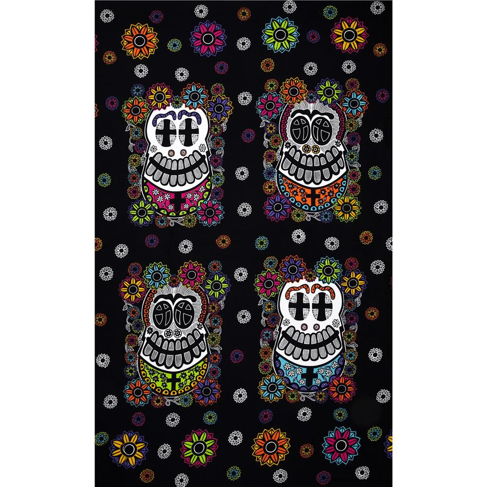 Mi Familia Day Of The Dead Panel Black