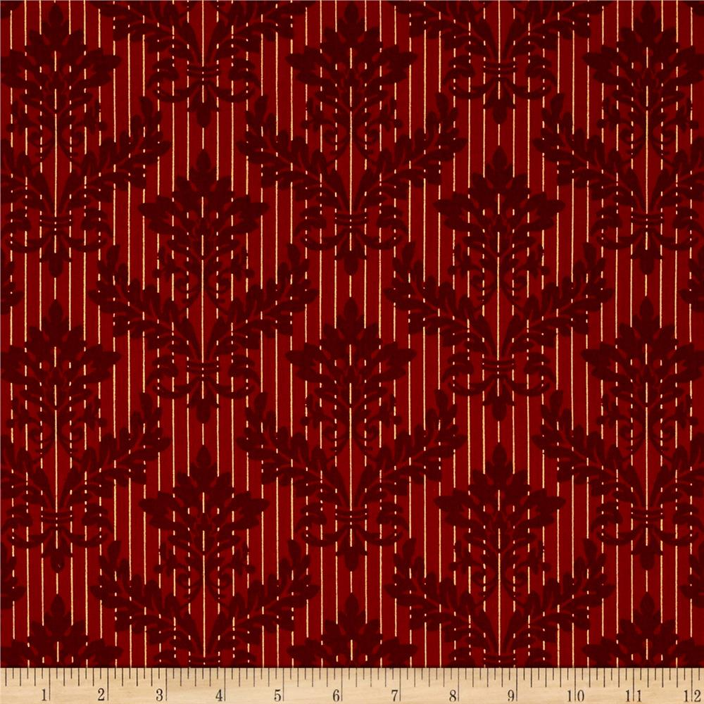 Windham Christmas Peace Damask Stripe  Red