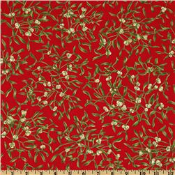 Moda Season's Greeting Mistletoe Cardinal Red
