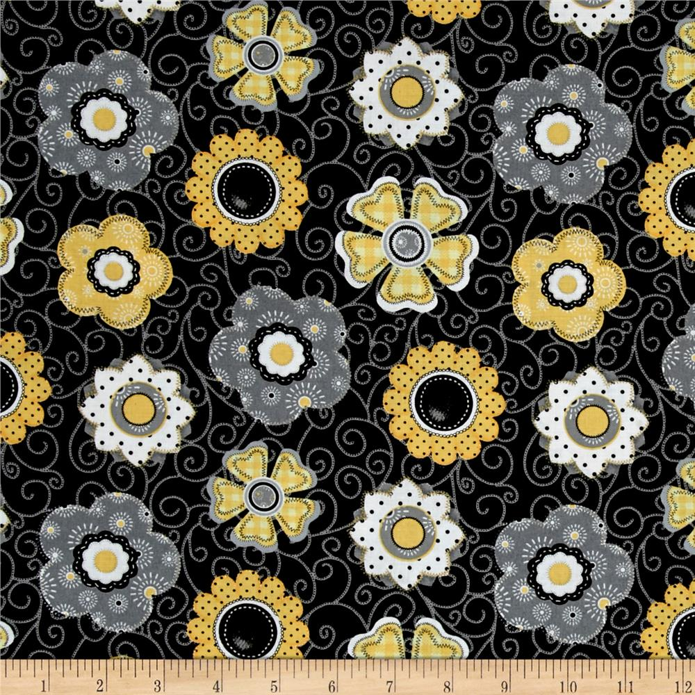 Sew bee it floral black discount designer fabric for Cheap sewing fabric