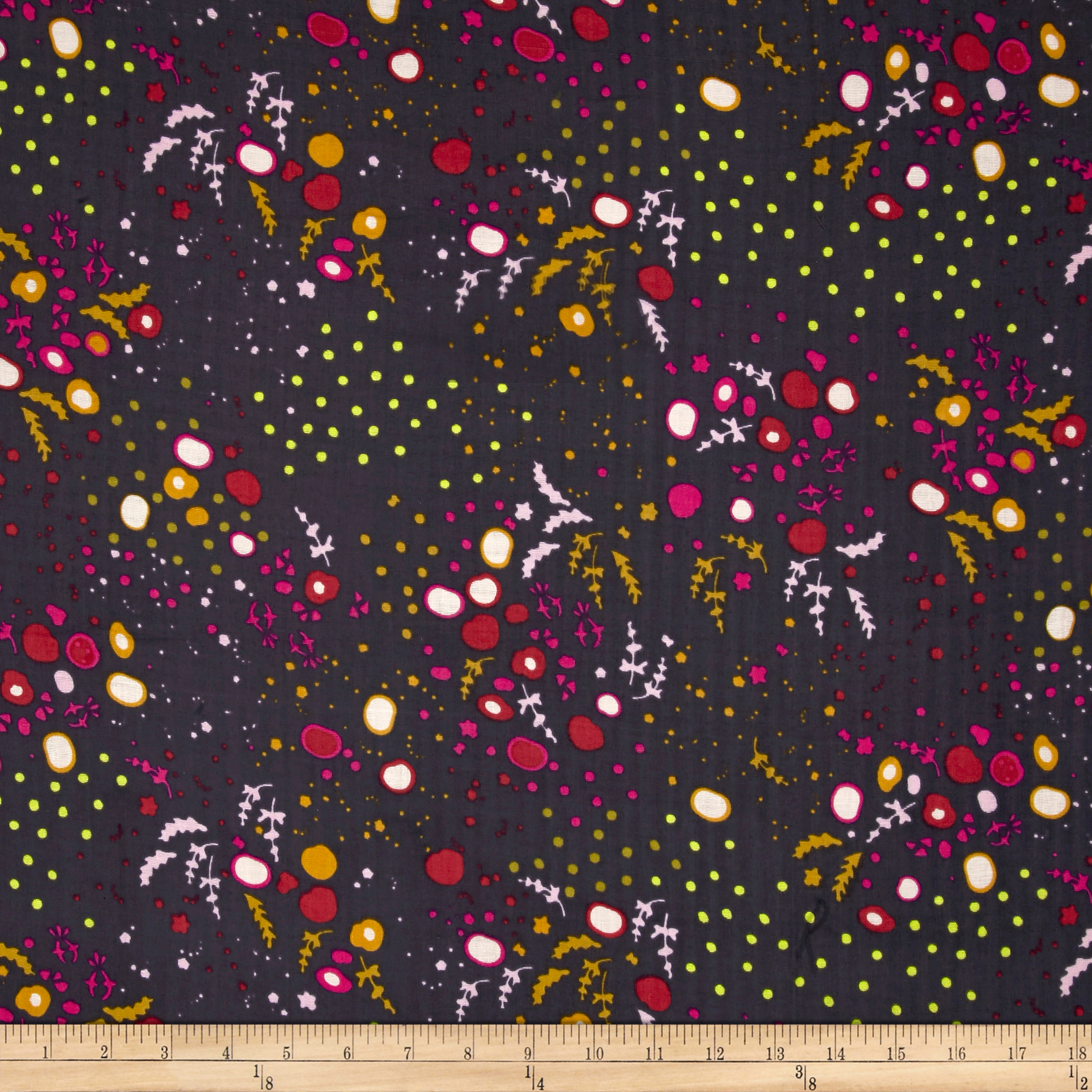 Image of Andover Adorn By Alison Glass Double Gauze Scattered Leaves Fog Fabric