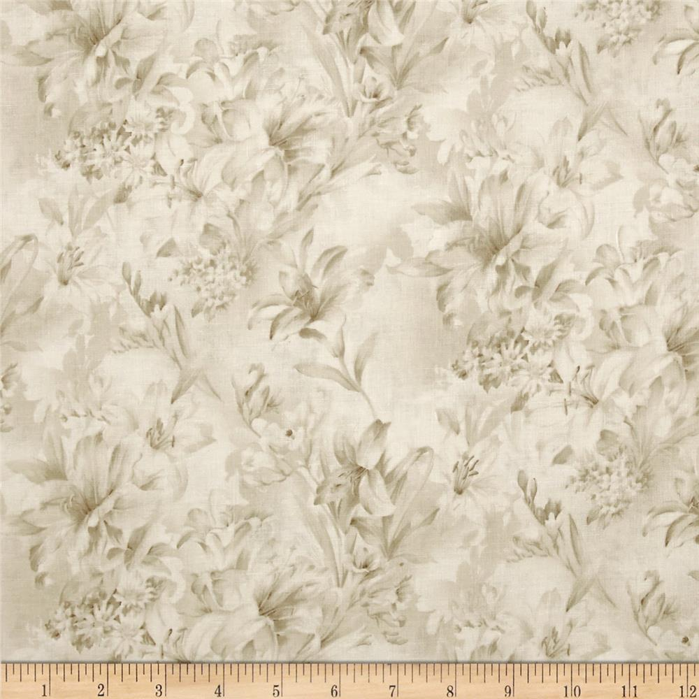 "118"" Wide Day Lily Quilt Backing Floral Cream"