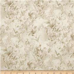 "Day Lily 118"" Wide Quilt Backs Floral Cream"