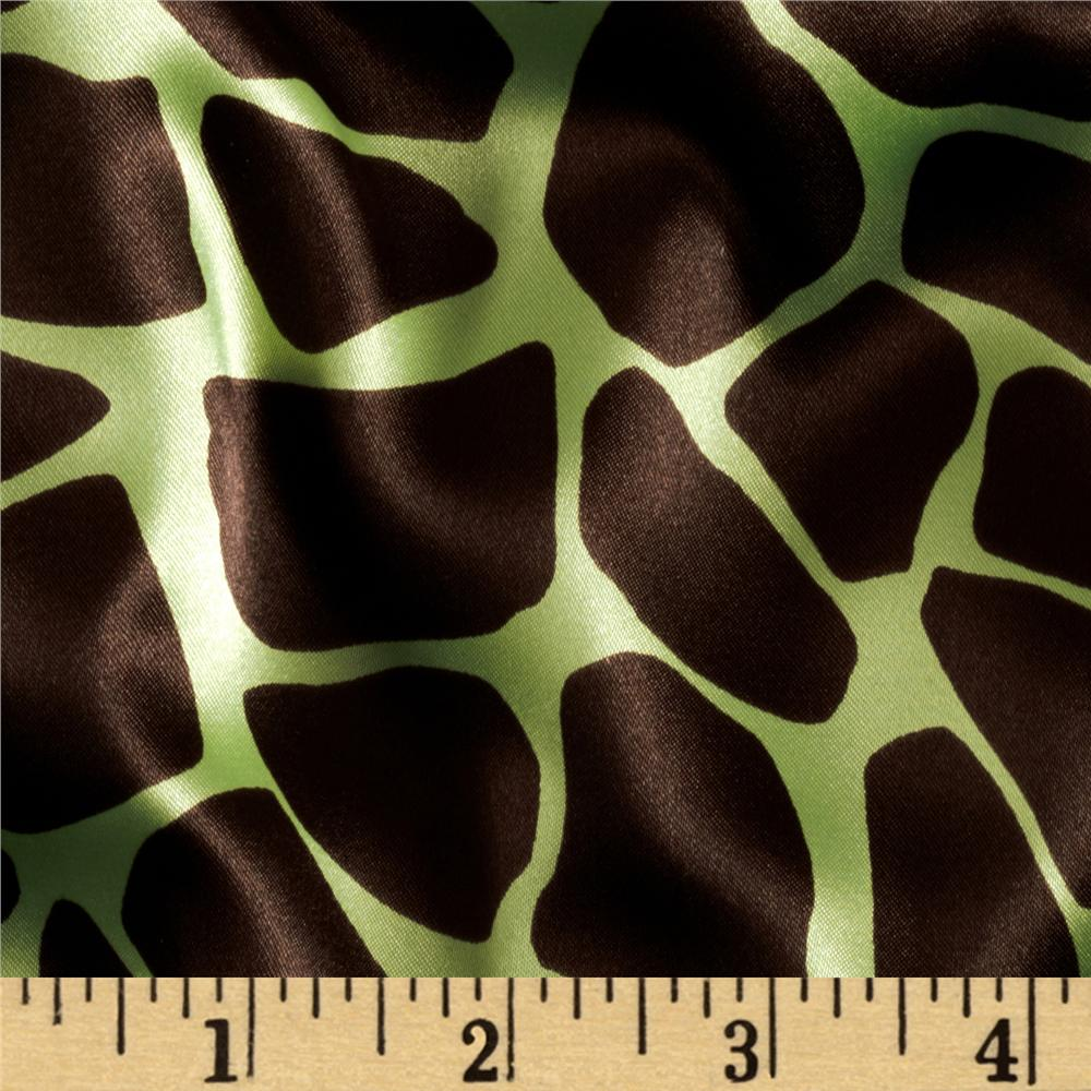Charmeuse Satin Giraffe Lime/Brown