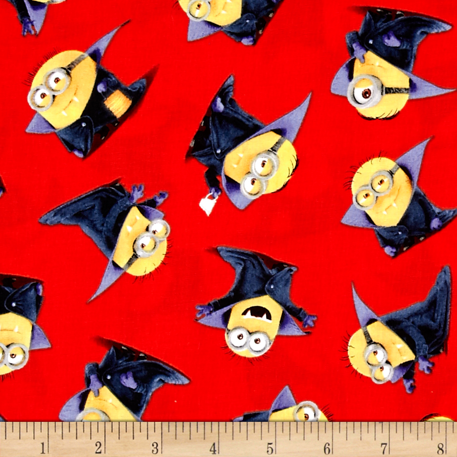 Bite Me Count Minions Red Fabric by Quilting Treasures in USA