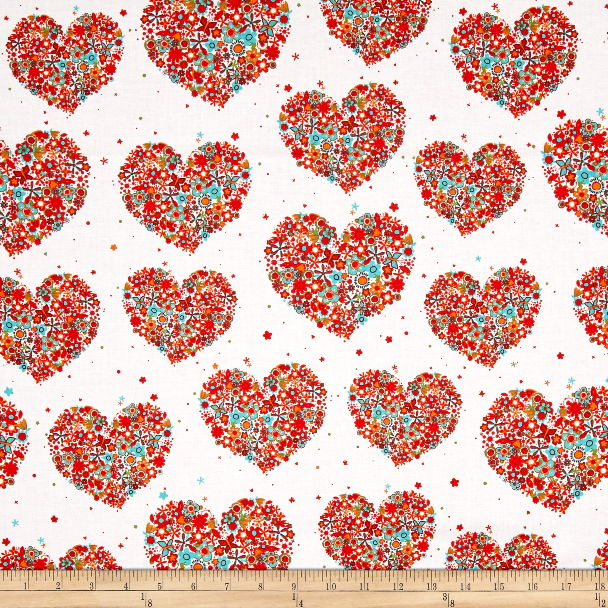 Michael Miller Flowers A Plenty Hearts & Flowers Apricot Fabric