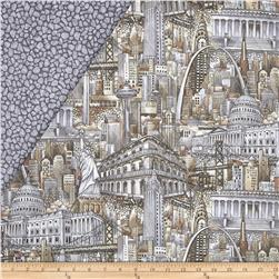 Cityscapes Double Sided Quilted Sepia