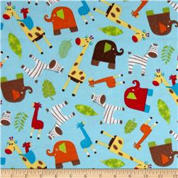 Novelty Niche Flannel Jungle Animals Blue
