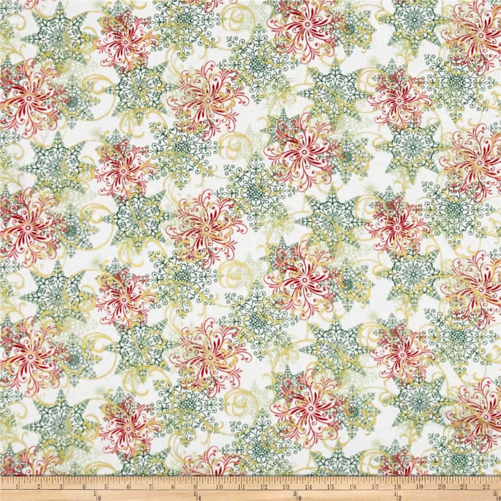 Winter Garden Metallic Snowflake Flourish Cream Fabric By The Yard