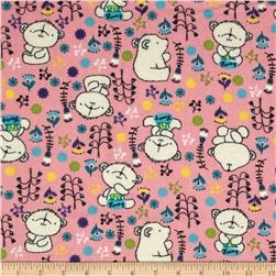 Flannel Honey Bear Candy Pink