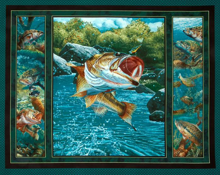 Stillwater Bass Wallhanging Panel Blue/Multi