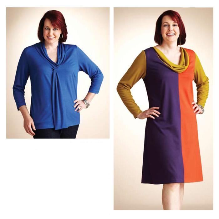 Kwik Sew Women's Cowl Dress & Tie Top Plus Size Pattern