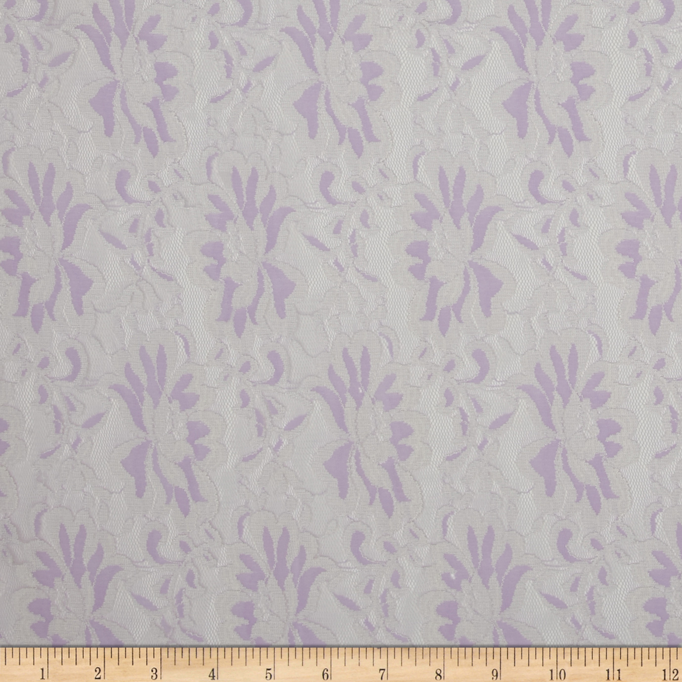 Stretch Lace Lavender/White Fabric