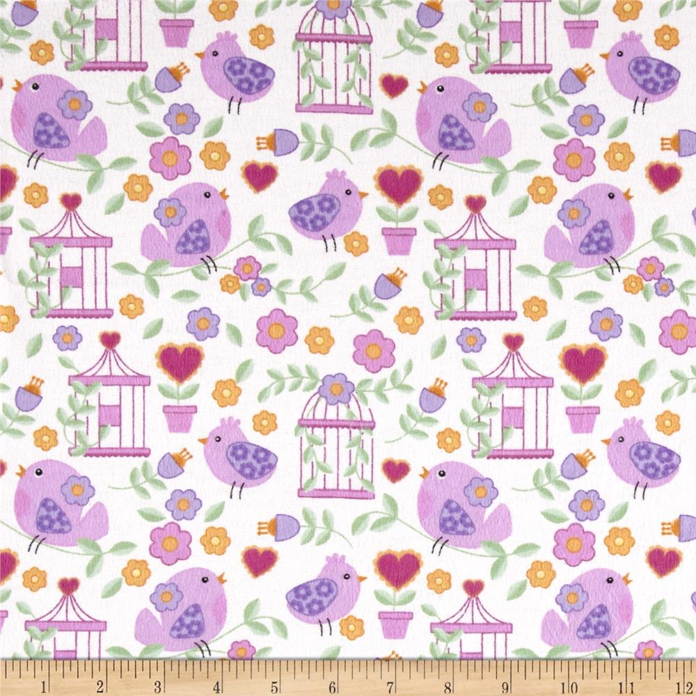 Birds Paradise Flannel Garden White
