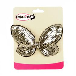 "Butterfly Bow Sequin Applique 3.75"" x 2.5"" Light Gold"