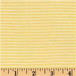 Jersey Knit Mini Ivory Stripes on Daffodil