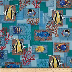 Colorful Reef Collage Marine Blue