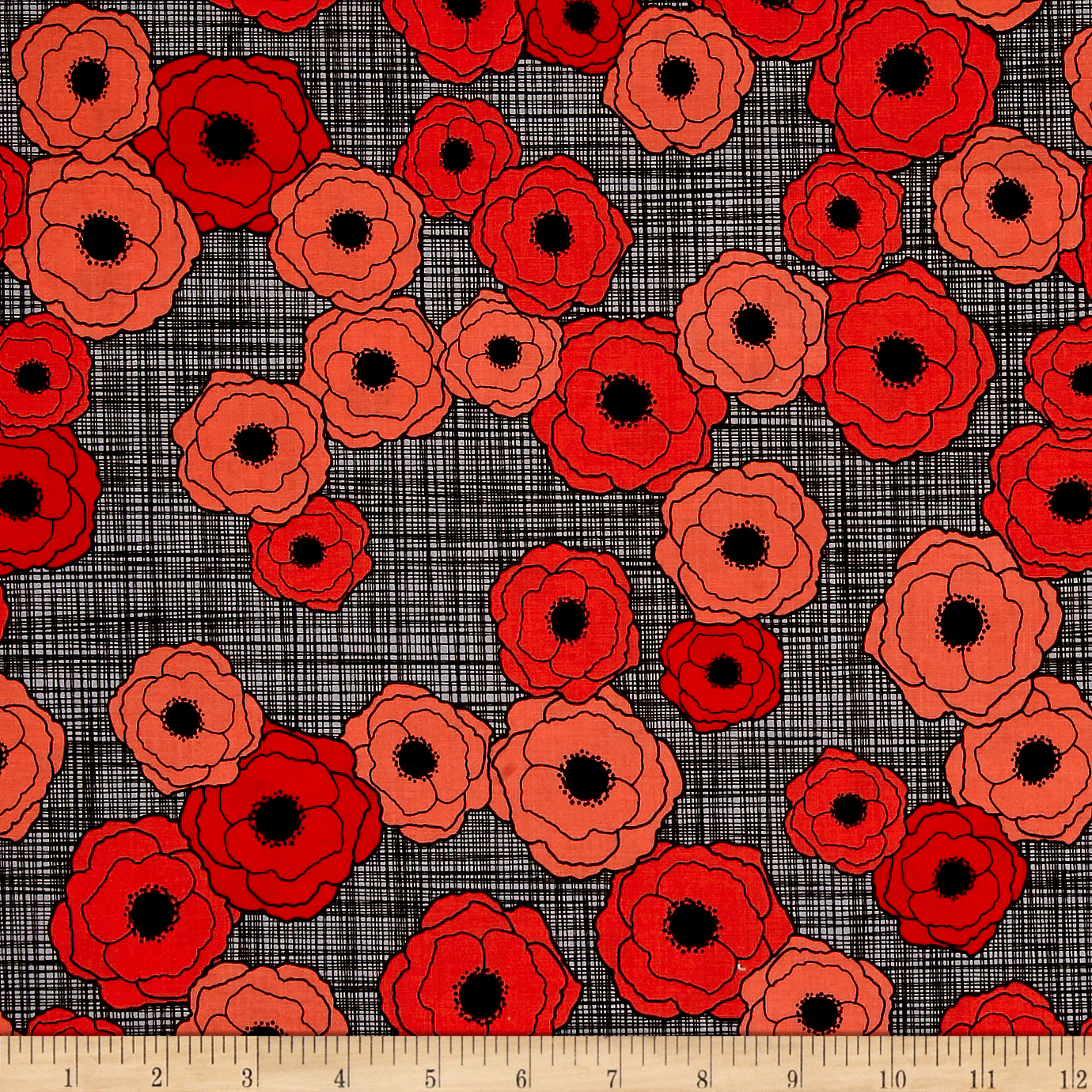 Poppies In Bloom Red Multi Poppies Red Fabric by E. E. Schenck in USA