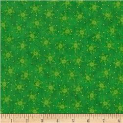 Visit From Santa Metallic Snow Flake Green