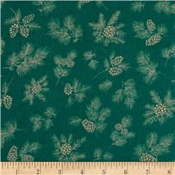 Chalk it up to Winter Flannel Pine Cones Green