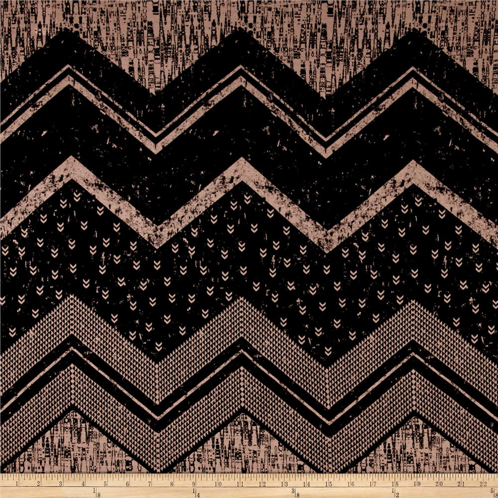 Rayon Jersey Knit Oversized Chevron and Miniature Arrows Black/Cr?me  Fabric By The Yard