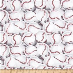Game On Packed Baseballs Cream/Black/Red Fabric