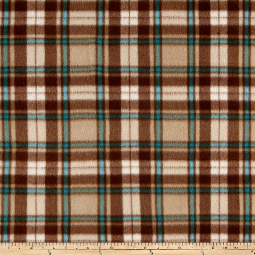 Polar Fleece Print Herringbone Plaid Brown Fabric By The Yard