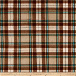 Polar Fleece Print Herringbone Plaid Brown