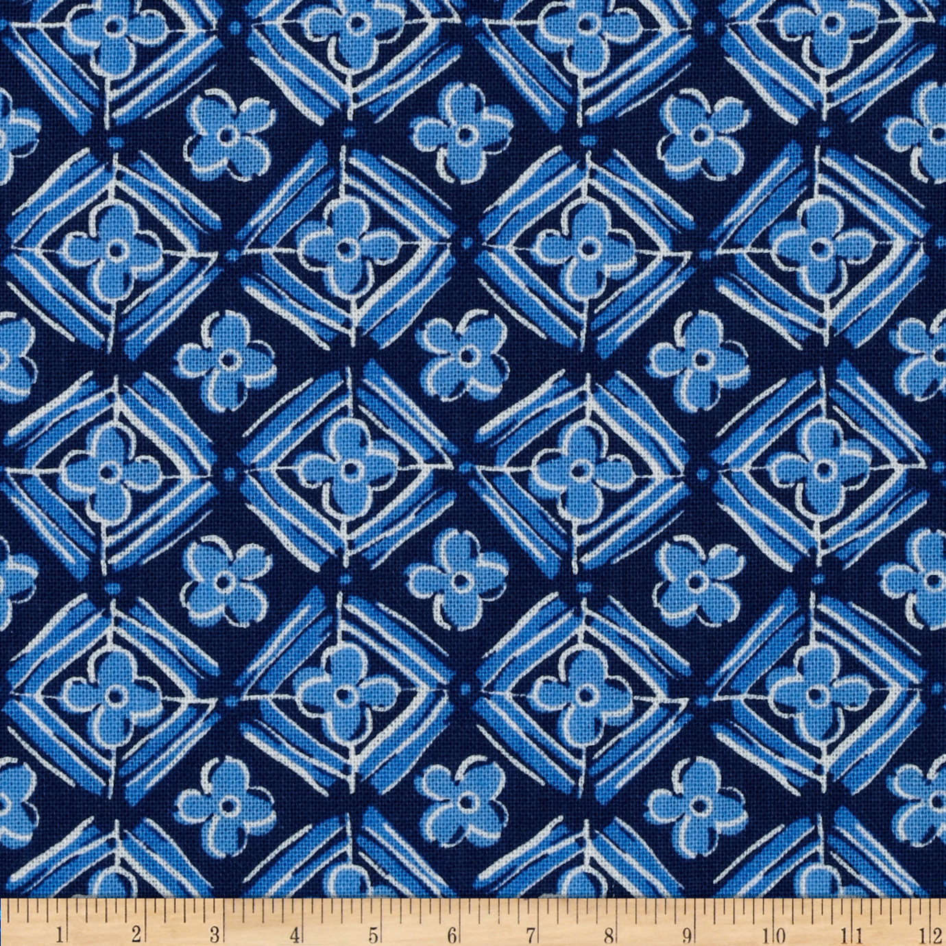 Meridian Floral Diamonds Blue/Navy Fabric