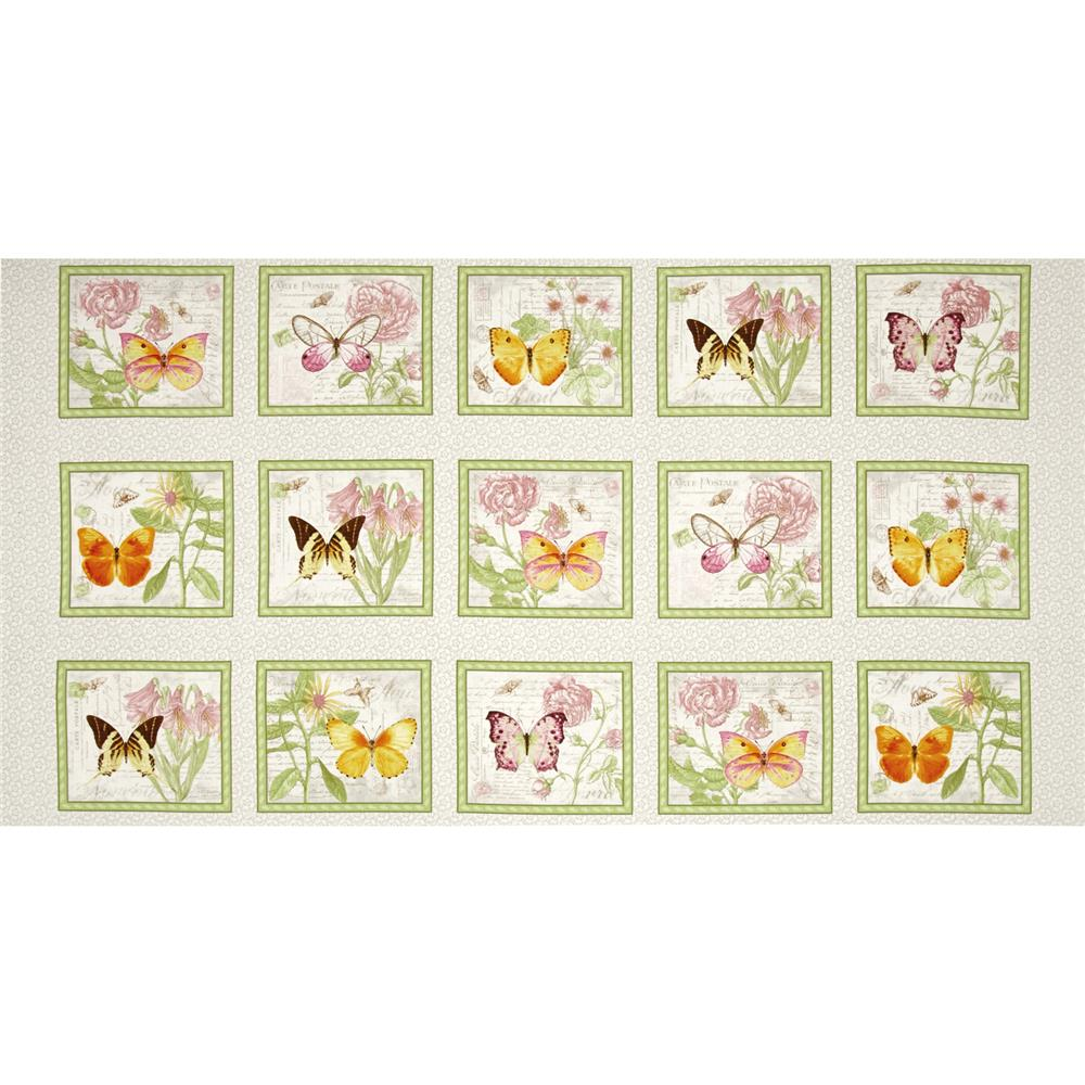 Butterfly Botanical Butterfly 24 In. Panel Grey/Pink Fabric By The Yard