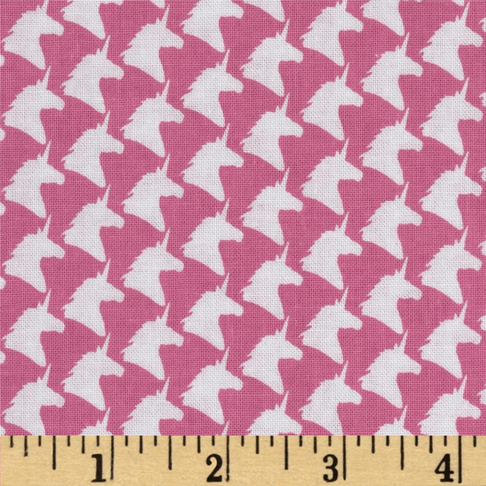 Michael Miller Unicorn Houndstooth Pink