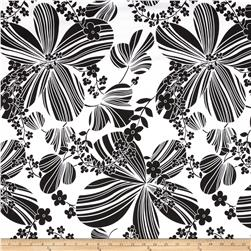 Stretch Poplin Big Floral Black/White