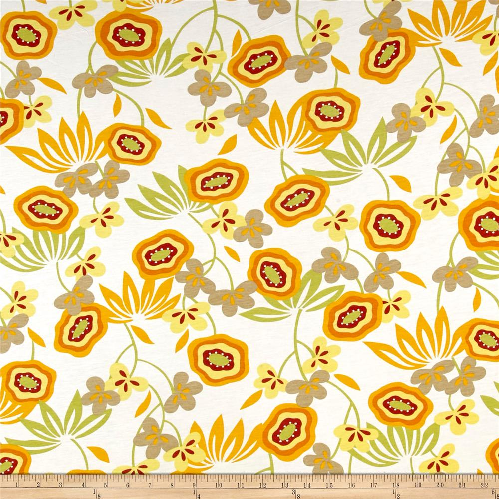 French Designer Jersey Knit Floral Yellow/Sage Fabric