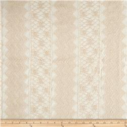 Antique Lace Chevron Floral Ivory