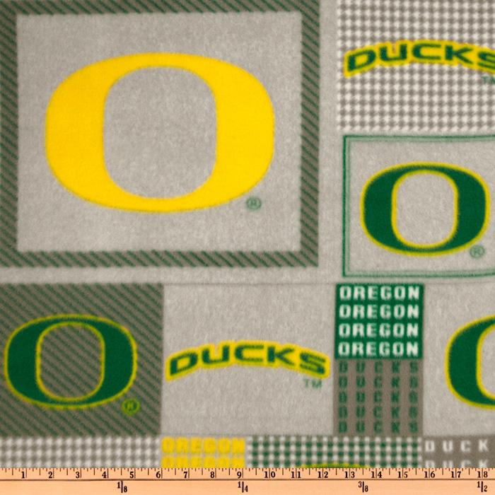 Collegiate Fleece University of Oregon Plaid Blocks Green/Yellow Fabric By The Yard